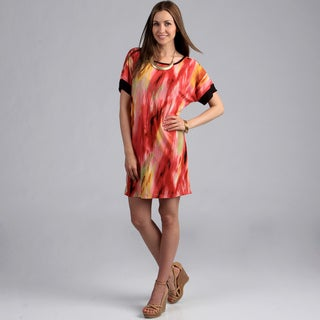 24/7 Comfort Apparel Women's Abstract Print Dolman Sleeve Dress
