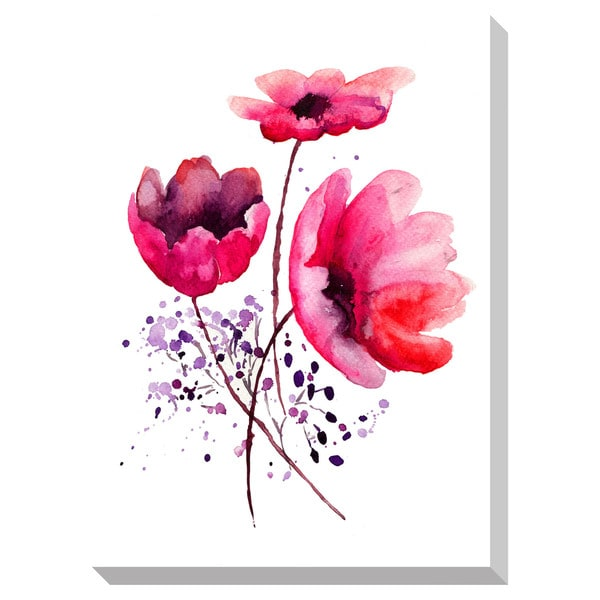 Flowers Watercolor II Oversized Gallery Wrapped Canvas