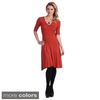 24/7 Comfort Apparel Faux Wrap Mid-Length Dress