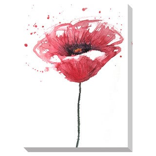 Watercolor Poppy Oversized Gallery Wrapped Canvas
