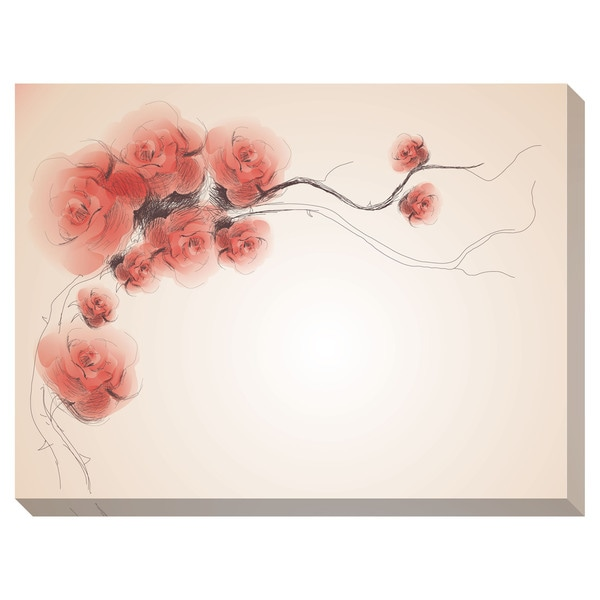 Wild Dog Rose Sketch Oversized Gallery Wrapped Canvas