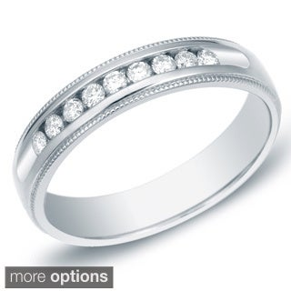 Auriya 14k Gold Men's 1/2ct TDW Round Diamond Milligrain Ring (H-I, SI1-SI2)