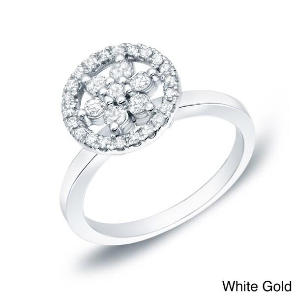 Auriya 14k Gold 1/2ct TDW Diamond Floral Ring (H-I, I1-I2)