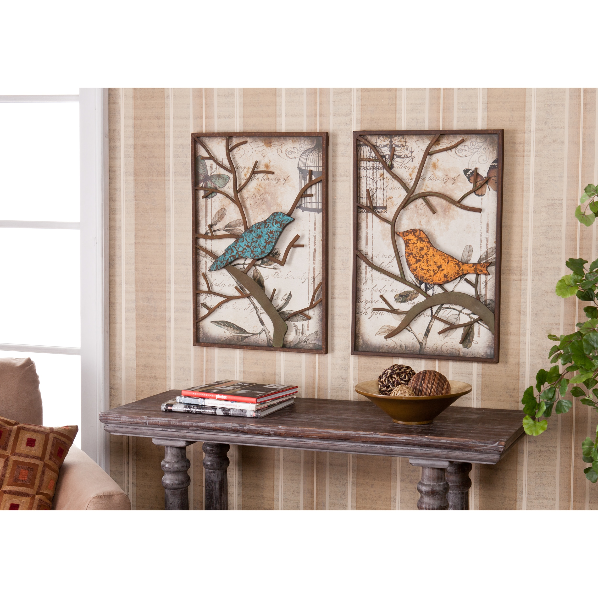 Antique Cream Wood Metal Wall Decor: Vintage Love Birds Wall Art Set Couple Gift Wedding House