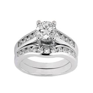 14k White Gold 1 2/5ct TDW Diamond Bridal Ring Set (F-G, SI1-SI2)