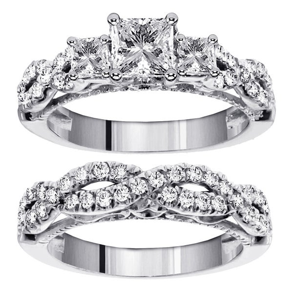 14k White Gold 2 1/2ct TDW Diamond 3-stone Bridal Ring Set (F-G, SI1-SI2)