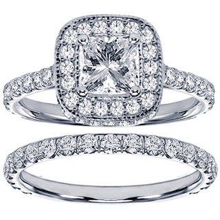 14k White Gold 2 3/4ct TDW Clarity Enhanced Princess Diamond Bridal Ring Set (F-G, SI1-SI2)