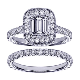 14k White Gold 2 3/4ct TDW Emerald-cut Clarity Enhanced Diamond Bridal Ring Set (F-G, SI1-SI2)