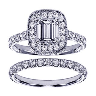 14k White Gold 2 3/4ct TDW Emerald-cut Diamond Bridal Ring Set (F-G, SI1-SI2)