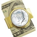 American Coin Treasures Goldtone 1964 First Year of Issue Silver JFK Half Dollar Money Clip