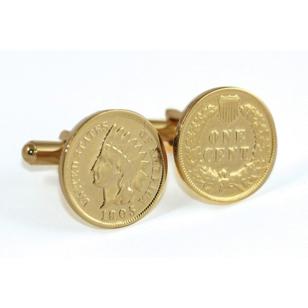 American Coin Treasures 24k Goldplated Indian Head Coin Cuff Links