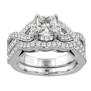 14k White Gold 2ct TDW Diamond Braided Bridal Ring Set (F-G, SI1-SI2)
