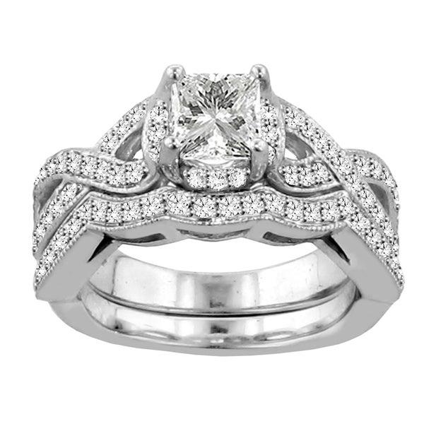 14k White Gold 2ct TDW Diamond Braided Bridal Ring Set (F-G, SI1-SI2)