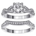 14k White Gold 1 1/6ct TDW Diamond Braided Bridal Ring Set (F-G, SI1-SI2)