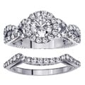14k White Gold 2 1/2ct TDW Halo Diamond Bridal Ring Set (F-G, SI1-SI2)