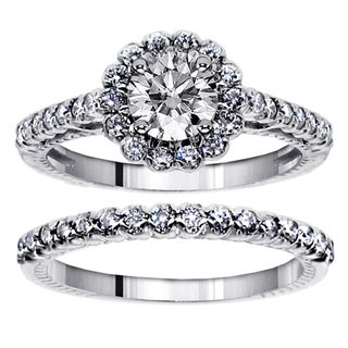 14k White Gold 2ct TDW Clarity Enhanced Diamond Halo Bridal Ring Set (F-G, SI1-SI2)