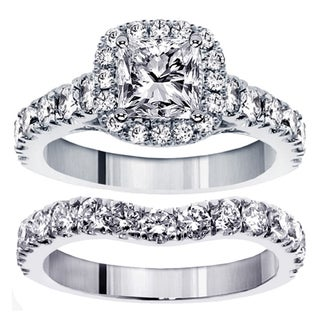 14k White Gold 3 1/3ct TDW Clarity Enhanced Diamond Halo Bridal Ring Set (G-H, SI1-SI2)