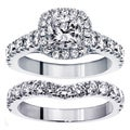 14k White Gold 3 1/3ct TDW Clarity Enhanced Diamond Halo Bridal Ring Set (F-G, SI1-SI2)