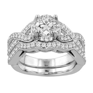 14k White Gold 2 1/3ct TDW Diamond Braided Bridal Ring Set (F-G, SI1-SI2)