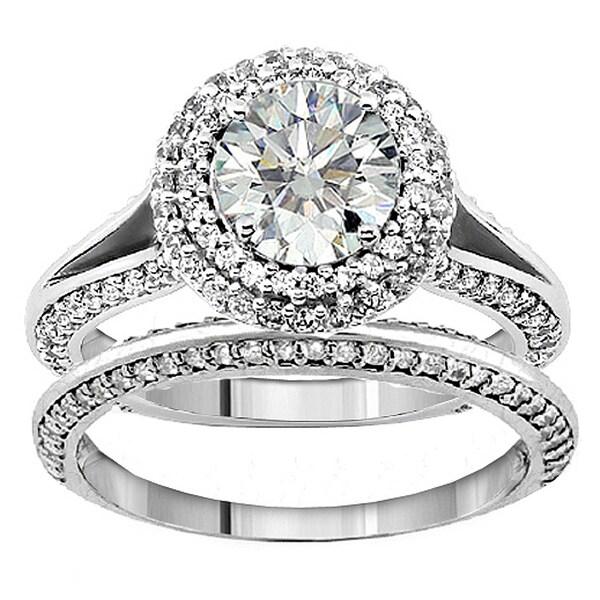 14k White Gold 2 2/5ct TDW Diamond Halo Bridal Ring Set (F-G, SI1-SI2)