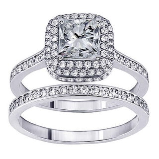 14k White Gold 2ct TDW Princess Diamond Bridal Ring Set (F-G, SI1-Si2)