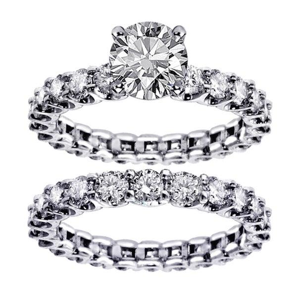 14k White Gold 4 3/5ct TDW Diamond Bridal Ring Set (F-G, SI1-SI2)