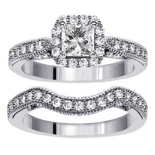 White Gold or Platinum 2ct TDW Princess Diamond Halo Bridal Ring Set (F-G, SI1-SI2)