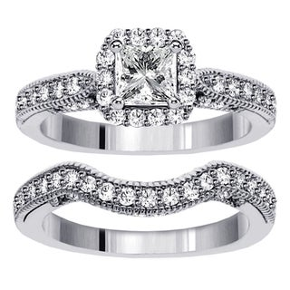 14k White Gold 2ct TDW Princess Diamond Halo Bridal Ring Set (F-G, SI1-SI2)