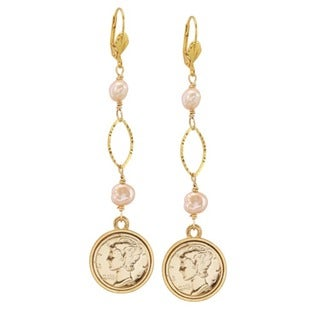 American Coin Treasures Gold Overlay Faux Pearl Silver Mercury Dime Earrings