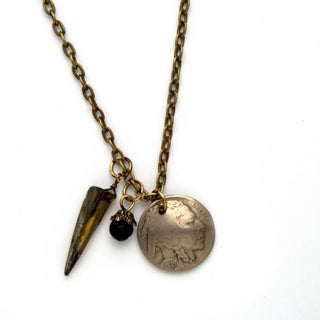 American Coin Treasures Antiqued Brass Dome Buffalo Nickel, Lava Bead, Coral and Cornelian Necklace
