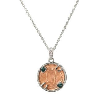 American Coin Treasures Steel Lucky Irish Penny and Green Crystal Necklace