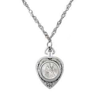 American Coin Treasures Silvertone Civil War Coin Watch Necklace