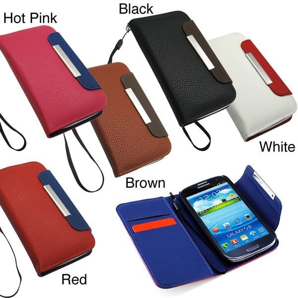 GEARONIC Flip Wallet Leather Case Cover for Samsung Galaxy S3/SIII