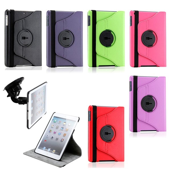 Gearonic Duel Function 360 Degree Rotating PU Leather Case Cover with Car Mount for iPad Mini 10916114