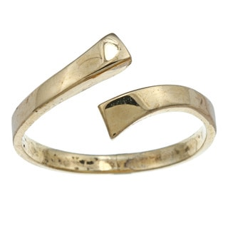 14k Yellow Gold over Silver Flat Bypass Adjustable Toe Ring