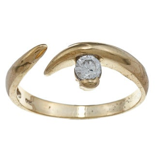 14k Yellow Gold over Silver Cubic Zirconia Adjustable Toe Ring