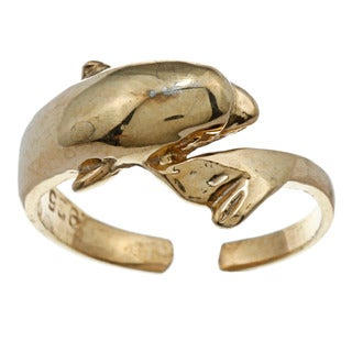 14k Yellow Gold over Silver Dolphin Adjustable Toe Ring