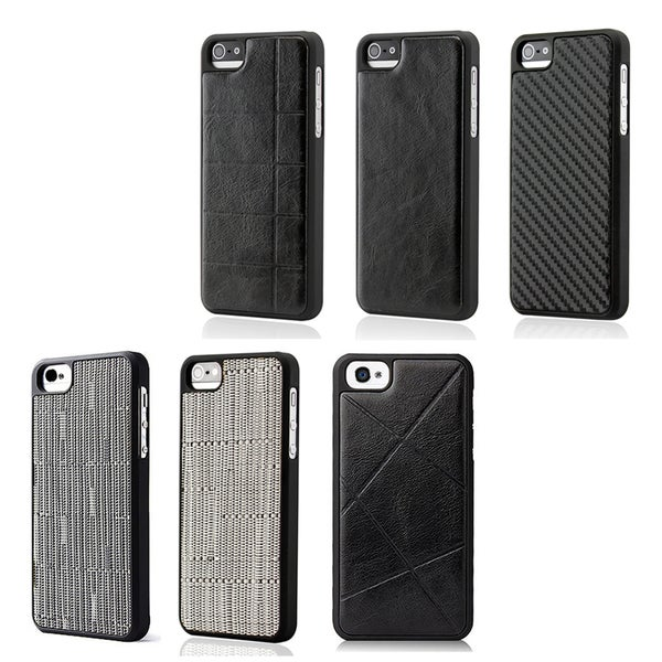 Gearonic New Black Pattern Slim Back Cover Hard PC Rubberized Rubber Case for iPhone 5