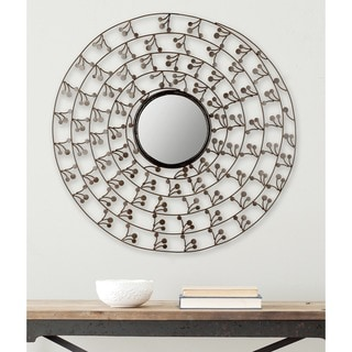 """Safavieh Budding Branch Antique Gold 32-inch Round Decorative Mirror - 32"""" x 32"""" x 2.3"""""""