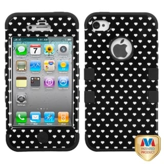 INSTEN Black Vintage Heart Phone Case Cover for Apple iPhone 4/ 4S