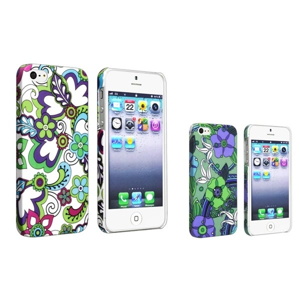 BasAcc Flower Cases for Apple iPhone 5 (Pack of 2)/ 5S