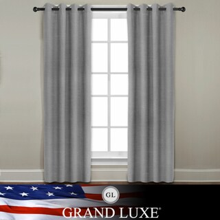 Grand Luxe Grey All Linen Gotham Grommet Window Panel