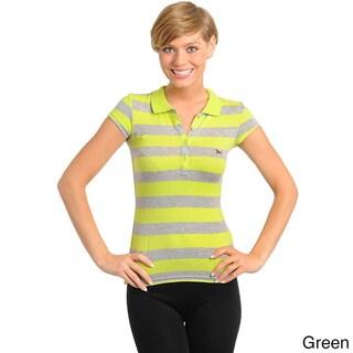 Stanzino Women's Cap Sleeve Striped Collared Top