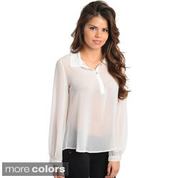 Stanzino Women's Long Sleeve Chiffon Collared Top