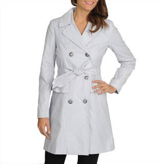 Ivanka Trump Women's Lavender Double-breasted Belted Trench