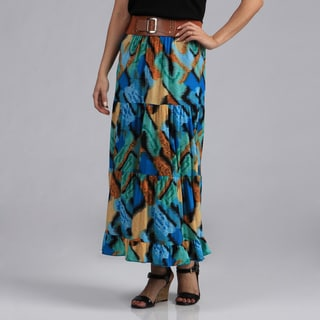 Meetu Magic Women's Abstract Print ITY Maxi Skirt