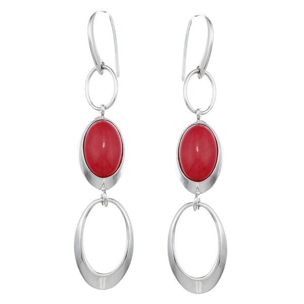 ELLE Jewelry Sterling Silver Red Jasper Earrings