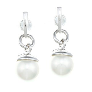 ELLE Jewelry Sterling Silver Faux Pearl Dangle Earrings