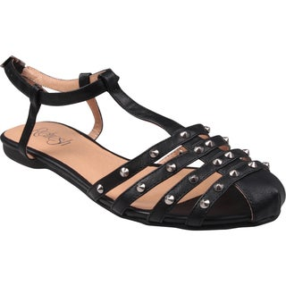 Refresh by Beston Women's 'Bunny' T-Strap Black Gladiator Sandals