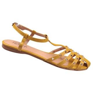 Refresh by Beston Women's 'Bunny' T-Strap Mustard Gladiator Sandals